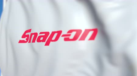 incorporated : Flying flag with Snap-on Incorporated logo, close-up. Editorial loopable 3D animation Stock Footage