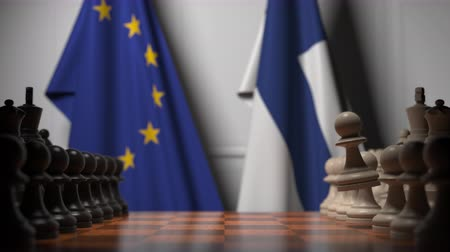 peão : Flags of the EU and Finland behind chess board. The first pawn moves in the beginning of the game. Political rivalry conceptual 3D animation