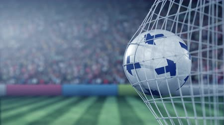 finnish : Flag of Finland on the football hitting goal net back. Realistic slow motion 3D animation