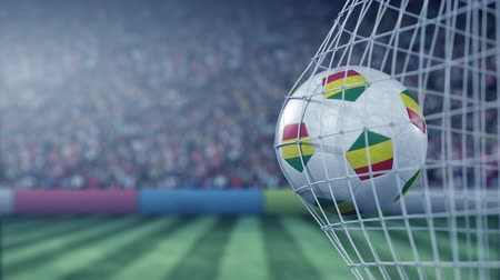 futbolistas : Flag of Bolivia on the football hitting goal net back. Realistic slow motion 3D animation