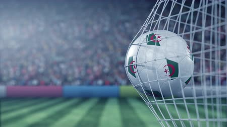 algeria : Flag of Algeria on the football hitting goal net back. Realistic slow motion 3D animation