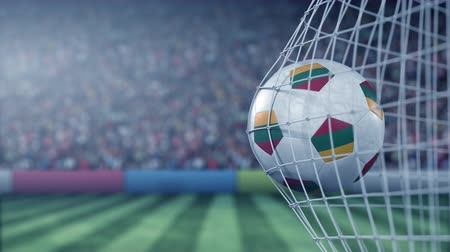 Литва : Flag of Lithuania on the football hitting goal net back. Realistic slow motion 3D animation Стоковые видеозаписи