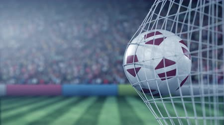 라트비아 : Flag of Latvia on the football hitting goal net back. Realistic slow motion 3D animation