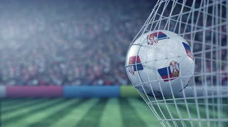 reaching : Flag of Serbia on the ball in football net. Conceptual 3D animation Stock Footage