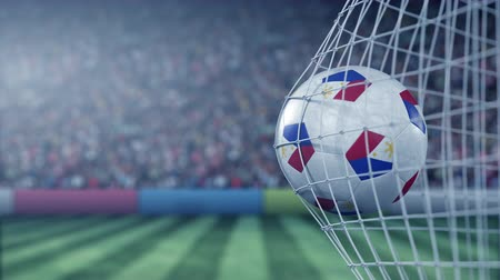 philippine : Flag of Philippines on the ball in football net. Conceptual 3D animation