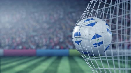 nicaraguan : Flag of Nicaragua on the football hitting goal net back. Realistic slow motion 3D animation Stock Footage