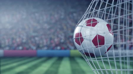 марокканский : Flag of Morocco on the ball in football net. Conceptual 3D animation