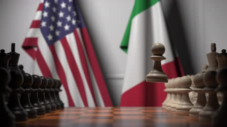 соперничество : Chess game against flags of USA and Italy. Political competition related 3D animation Стоковые видеозаписи