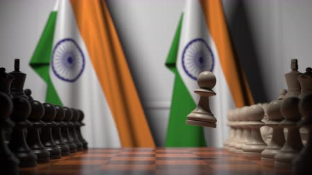 oposição : Chess game against flags of India. Political competition related 3D animation
