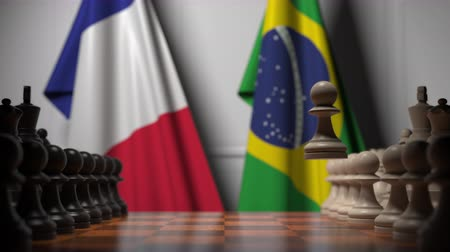 brazil : Chess game against flags of France and Brazil. Political competition related 3D animation