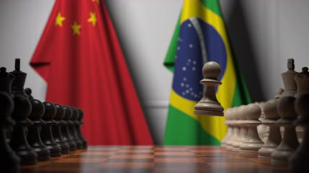 brazil : Chess game against flags of China and Brazil. Political competition related 3D animation