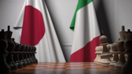 versengés : Chess game against flags of Japan and Italy. Political competition related 3D animation