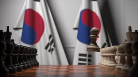 oposição : Chess game against flags of South Korea. Political competition related 3D animation