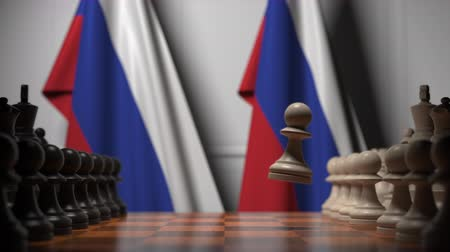 ライバル : Chess game against flags of Russia. Political competition related 3D animation