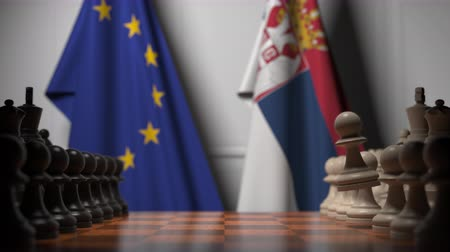 sérvia : Chess game against flags of EU and Serbia. Political competition related 3D animation