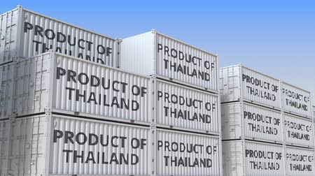 tengeri kikötő : Containers with PRODUCT OF THAILAND text in a container terminal, loopable 3D animation