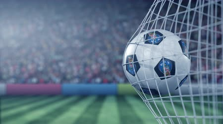 reaching : FC Porto football club logo on the ball in football net. Editorial conceptual 3D animation Stock Footage