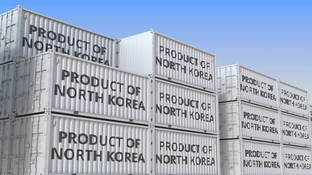dprk : Cargo containers with PRODUCT OF NORTH KOREA text. Korean import or export related loopable 3D animation Stock Footage