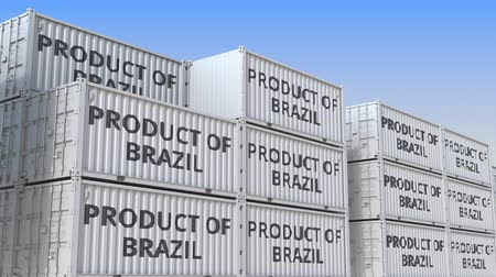 brazil : Containers with PRODUCT OF BRAZIL text in a container terminal, loopable 3D animation