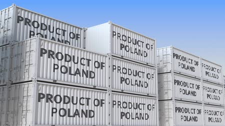 handling : Containers with PRODUCT OF POLAND text, loopable 3D animation
