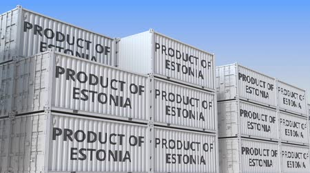 estonie : Conteneurs avec texte PRODUCT OF ESTONIA. Animation 3D en boucle liée à l'importation ou à l'exportation estonienne