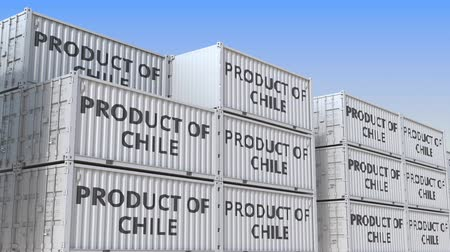 chileno : Containers with PRODUCT OF CHILE text. Chilean import or export related loopable 3D animation