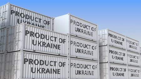 handling : Containers with PRODUCT OF UKRAINE text. Ukrainian import or export related loopable 3D animation