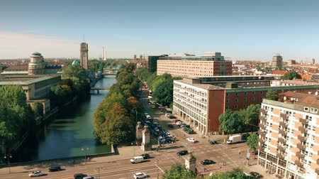 münchen : Aerial view of the River Isar embankment near the Innere Ludwigsbrucke bridge and the German Museum in Munich, Germany