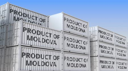 handling : Cargo containers with PRODUCT OF MOLDOVA text. Moldovan import or export related loopable 3D animation