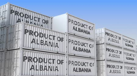 albanie : Containers with PRODUCT OF ALBANIA text. Albanian import or export related loopable 3D animation