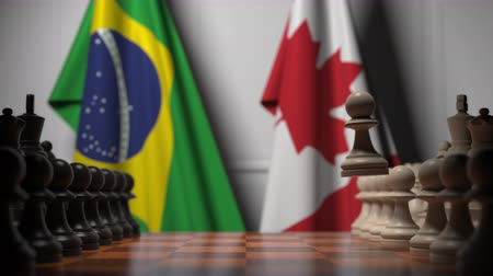 canadense : Chess game against flags of Brazil and Canada. Political competition related 3D animation