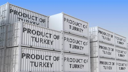 handling : Cargo containers with PRODUCT OF TURKEY text. Turkish import or export related loopable 3D animation