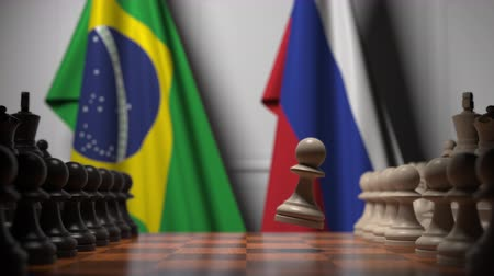 ライバル : Chess game against flags of Brazil and Russia. Political competition related 3D animation