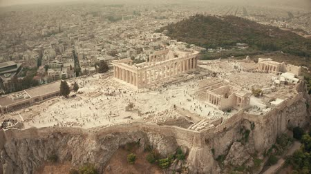 arkeolojik : Aerial orbiting shot of the famous Parthenon temple and Acropolis. Athens, Greece