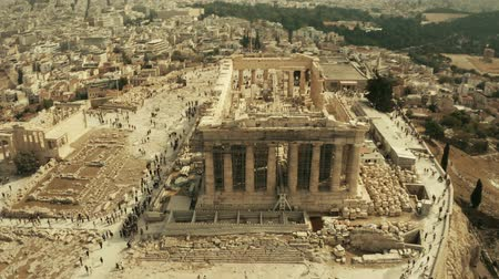 археологический : Aerial view of the Parthenon temple restoration and Acropolis in Athens, Greece