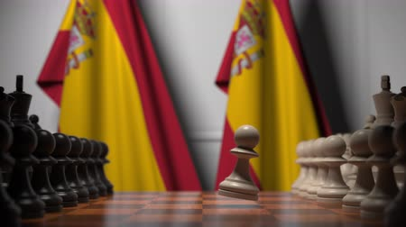 oposição : Chess game against flags of Spain. Political competition related 3D animation
