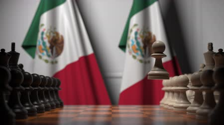 oposição : Chess game against flags of Mexico. Political competition related 3D animation Vídeos