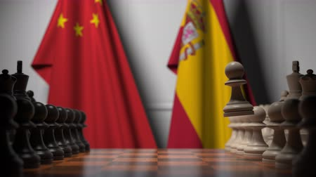 ライバル : Chess game against flags of China and Spain. Political competition related 3D animation