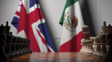 конкурировать : Chess game against flags of Great Britain and Mexico. Political competition related 3D animation