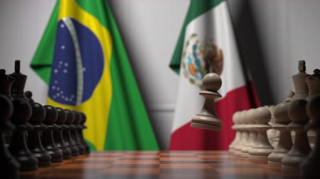 ライバル : Chess game against flags of Brazil and Mexico. Political competition related 3D animation