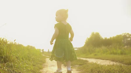 sandalo : Curious baby girl walking along rural field pathway on a sunny summer evening Filmati Stock