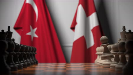 конкурировать : Chess game against flags of Turkey and Switzerland. Political competition related 3D animation