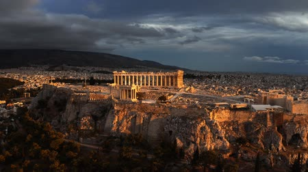 aerial athens : Aerial view of the Parthenon temple on Acropolis of Athens at beautiful sunset. Greece