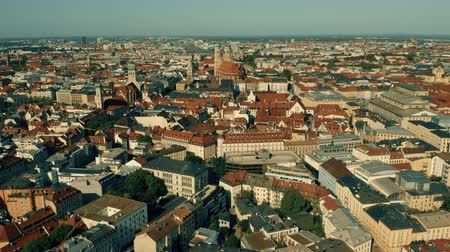 bajor : Aerial establishing shot of Munich, the capital of Bavaria. Germany Stock mozgókép