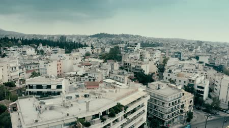 aerial athens : Cityscape of Athens on a rainy day, Greece. Aerial view Stock Footage