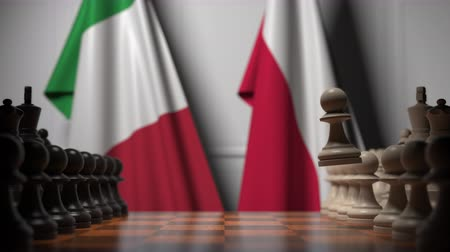 конкурировать : Flags of Italy and Poland behind pawns on the chessboard. Chess game or political rivalry related 3D animation