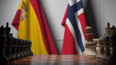 spaniard : Flags of Spain and Norway behind pawns on the chessboard. Chess game or political rivalry related 3D animation