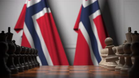 treaty : Flags of Norway and Norway behind pawns on the chessboard. Chess game or political rivalry related 3D animation