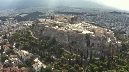 roofless : Aerial view of crowded Acropolis in Athens, the main citys landmark. Greece
