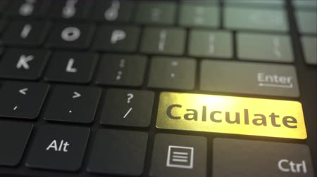 cálculo : Black computer keyboard and gold calculate key. Conceptual 3D animation
